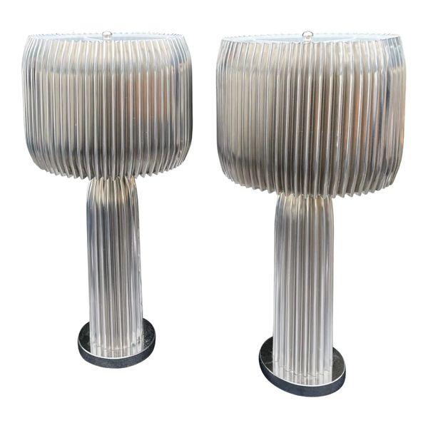 Modern Designer Polished Steel Designer Lamps - a Pair