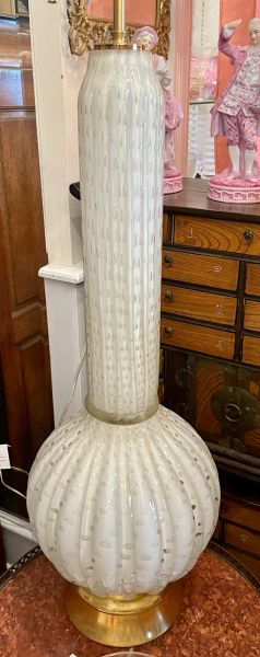 Vintage Hollywood Regency Latticino Murano Glass Lamp