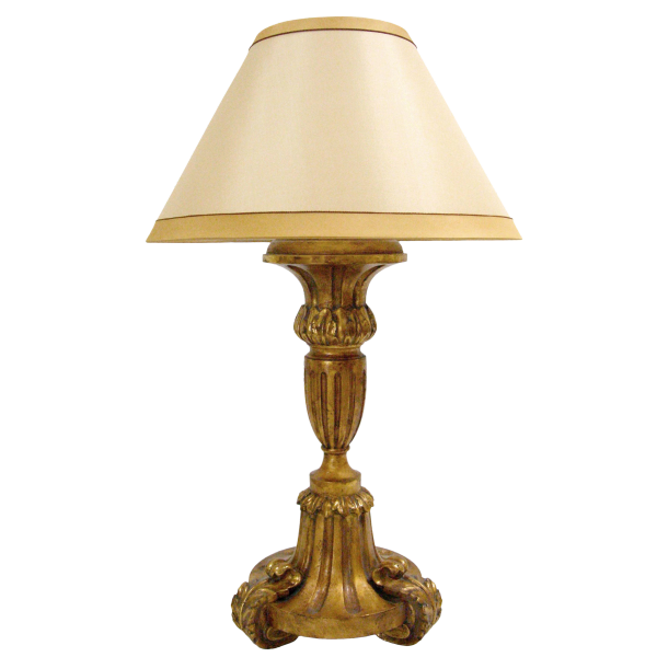 CARVED ITALIAN PALADIN GILT-WOOD LAMP BY RANDY ESADA DESIGNS FOR PROSPR