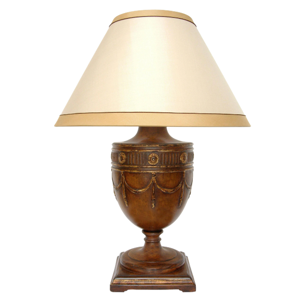 CARVED GEORGIAN WALNUT TABLE LAMP BY RANDY ESADA DESIGNS