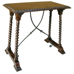 CARVED ITALIAN WALNUT & IRON SIDE TABLE BY RANDY ESADA DESIGNS
