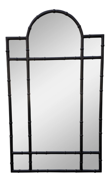 Huge Paul Ferrante Black Iron Bamboo Pier Mirror