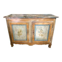 Antique Italian 18th C Tuscan Paint Decorated Sideboard Buffet 2 Door Cabinet