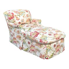 Fine Designer Floral Upholstered Chaise Lounge
