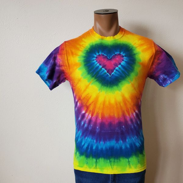 Pink Rainbow Heart Adult T-Shirt