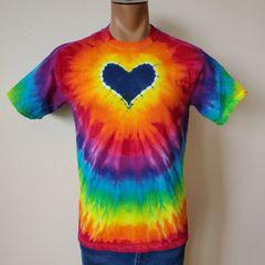 Blue Rainbow Heart Adult T-Shirt