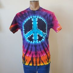 Blue and Black Peace Sign Adult T-Shirt