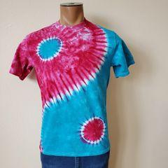 Pink and Blue Yin Yang Adult T-Shirt