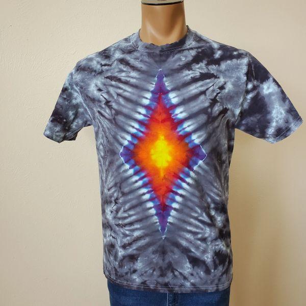 Gray and Black Glowing Diamond Adult T-Shirt