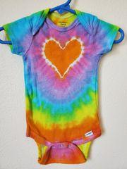 Orange Pastel Rainbow Heart Onesie