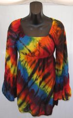Dark Rainbow V Peasant Blouse