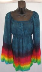 Blue Rainbow Edged Peasant Blouse