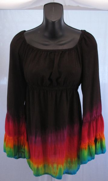 Black Rainbow Edged Peasant Blouse