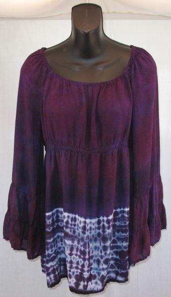 Purple Shibori Peasant Blouse
