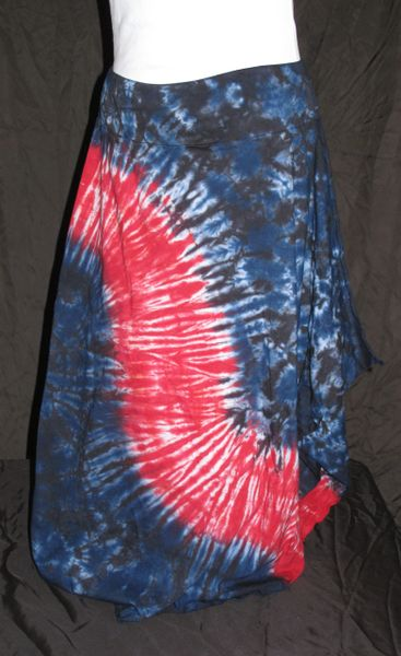 Red Striped Blue and Black Marble Lotus Skirt