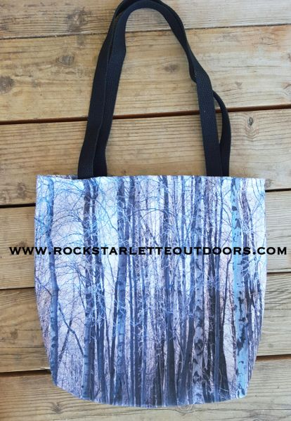 Tote Bag: Snow Birch Tree Pattern; On SALE 50% OFF
