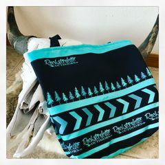 Tote Bag: Rockstarlette Outdoors Teal and Black Logo