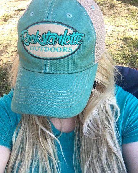 Teal Rockstarlette Outdoors Logo Mesh Back Hat