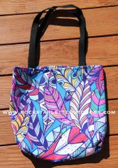 SALE 25% OFF, Tote Bag: Bright Feather Pattern, Made in the USA