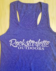 Heathered Purple Rockstarlette Outdoors Logo Racerback Tank Top
