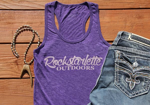 SALE 20% OFF, Heather Purple Rockstarlette Outdoors Logo Racerback Tank Top