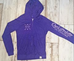 SALE 60% OFF, Lightweight Zip Hoodie, Rockstarlette Outdoors Logo, Purple Heathered