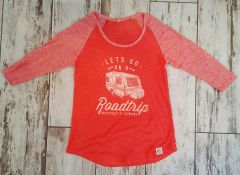 SALE 30% OFF, Lets Go On A Roadtrip, Raglan 3/4 Sleeve T Shirt, Papaya