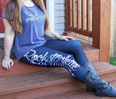 Rockstarlette Outdoors Logo Leggings, Black with Snow Birch Camo