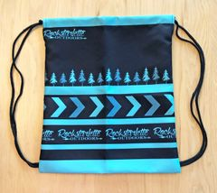 Tote Bag: SALE 30% OFF, Drawstring Rockstarlette Outdoors Teal and Black Logo