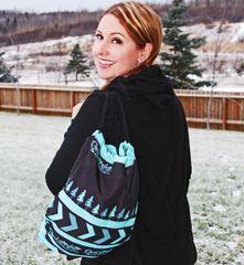 Tote Bag: SALE 20% OFF, Drawstring Rockstarlette Outdoors Teal and Black Logo