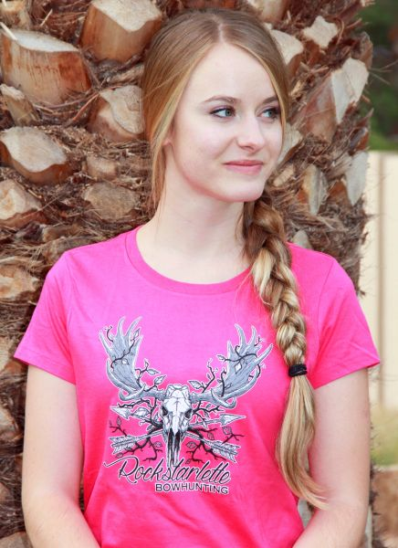 SALE 65% OFF, XS, Sz 0, Rockstarlette Bowhunting Moose Logo T Shirt, Hot Pink