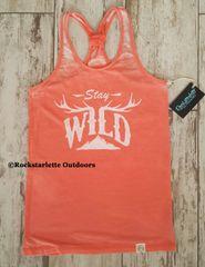 Stay Wild Sporty Racerback Tank, Coral, Rockstarlette Outdoors