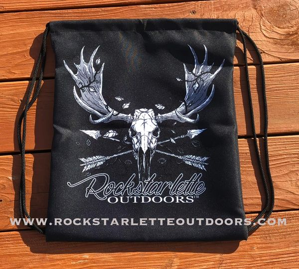 Tote Bag: Drawstring, Rockstarlette Outdoors Original Moose Archery Logo