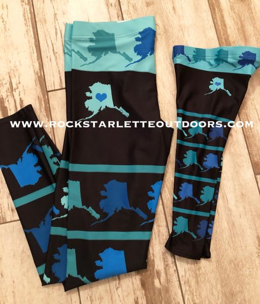 Youth Alaska Map Leggings, (2T-14)