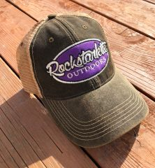 Black and Purple Vintage Wash, Rockstarlette Outdoors Logo Mesh Back Hat