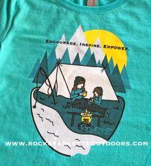 Youth Camping Logo T shirt, Girls Sizing 3-16, Teal or Hot Pink, Princess T, Mother/Daughter Camping Logo