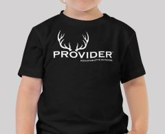 Youth PROVIDER™ T Shirt, Baby and Toddler Sizes, Black or Pink, Fishing or Hunting Logo