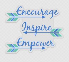 Encourage Inspire Empower, Large Clear Background Stickers. High Quality and Durable