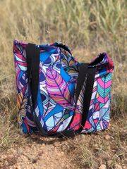 SALE 30% OFF, Tote Bag: Bright Feather Pattern, Made in the USA