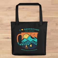 Tote Bag: I Love Adventure (and coffee), Black, Made in the USA