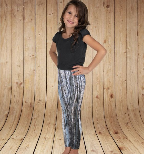 Youth Leggings, Birch Tree Pattern, Snow Camo, (2T-14)
