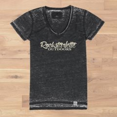 Rockstarlette Outdoors Vintage Wash V Neck T Shirt, On SALE 20% OFF, Ultra Soft Burnout Fabric