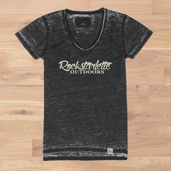 Rockstarlette Outdoors Vintage Wash V Neck T Shirt, Ultra Soft Burnout Fabric (S-XXL)
