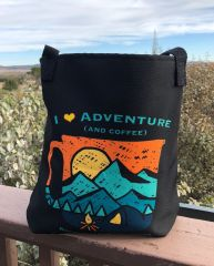 Tote Bag: I Love Adventure (and coffee), Black or Teal, Made in the USA