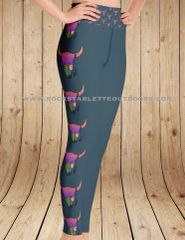 Sunset Skull Southwestern Leggings, Special Edition With Wide Yoga Waistband