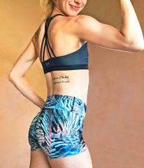 Turkey Feather Pattern Athletic Shorts, Yoga Waistband