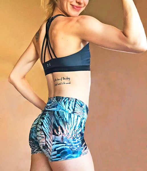 Shorts, Turkey Feather Pattern, Yoga Waistband, Swim or Workout