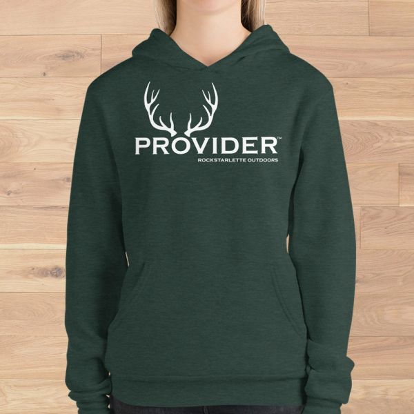 PROVIDER Hunting Logo Fleece Lined Pullover Hoodie, Heather Green or Black, SUPER soft