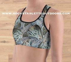 Turkey Feather Sports Bra/ Athletic Top, Moisture Wicking, Full Support