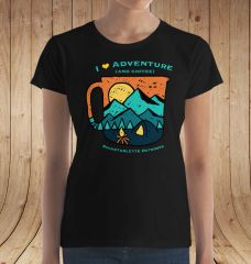 I Love Adventure (and Coffee) T shirt, S-3XL, Relaxed Fit Crewneck, Black, NEW!!